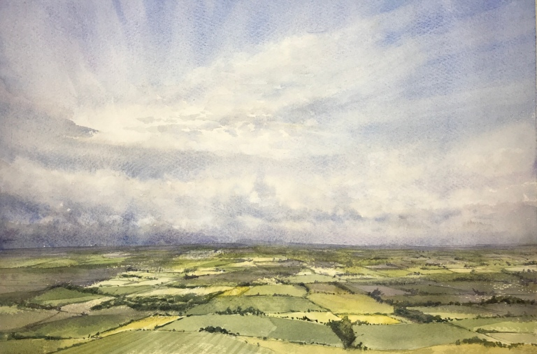 View of the Weald from Firle Beacon in the the South Downs in watercolour by John Haywood
