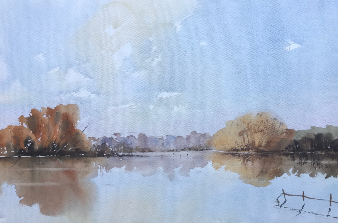 Floodwater, Nr Guildford, after Edward Wesson, a watercolour painting by John Haywood
