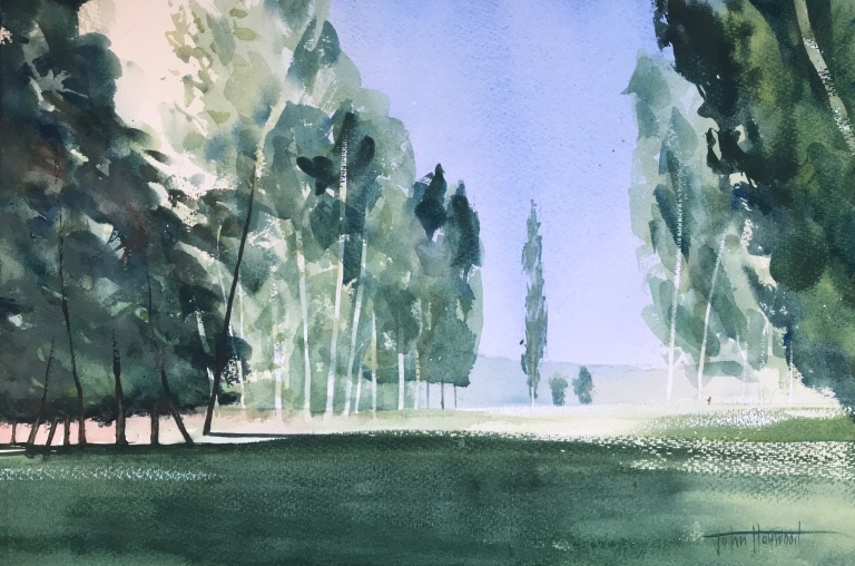A watercolour painting after Ian Potts, 'Sun touches trees with the first-fired heat of the day' by watercolour artist John Haywood