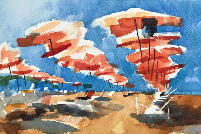 'Marina di Pietrasanta beach' after Ian Potts (1936-2014) by John Haywood, watercolour artist