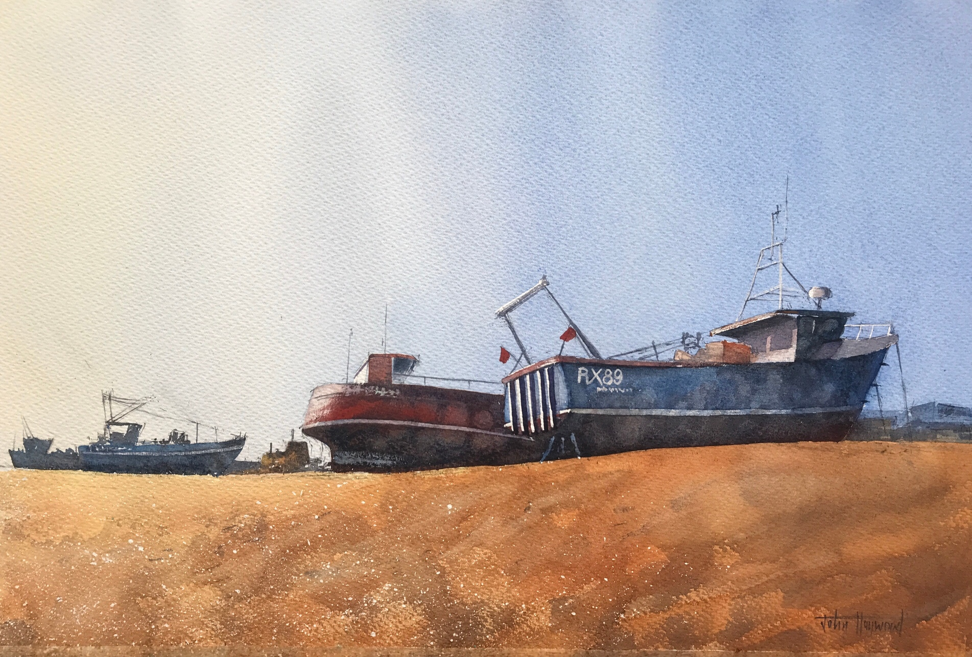 Boats at rest, Hastings, a watercolour painting by John Haywood