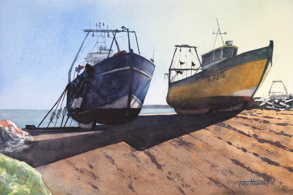 Boats at sunset, Hastings, a watercolour painting by artist John Haywood