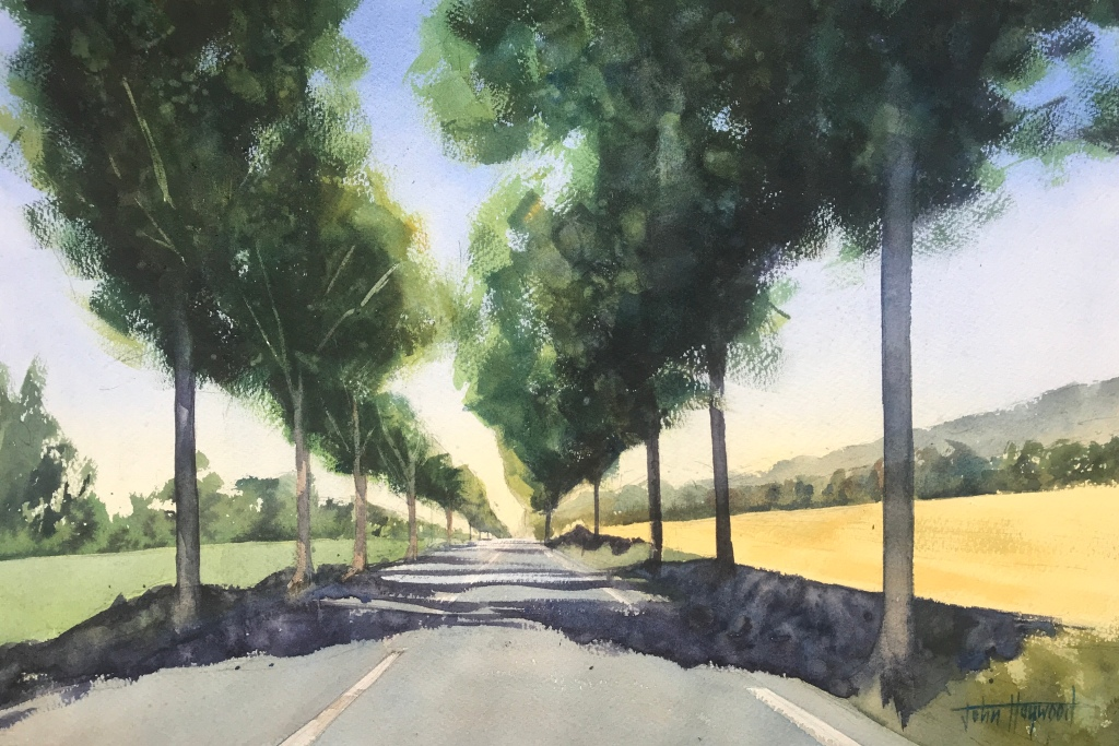 Open road, France, a watercolour painting by artist John Haywood