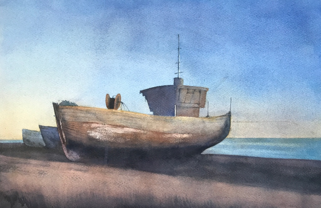 Watercolour nocturne - a watercolour painting of boats at Hastings by artist John Haywood