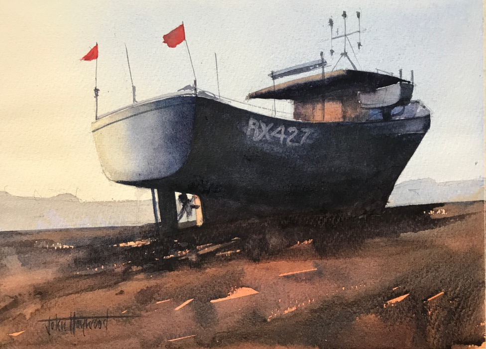 Boat RX427, Hastings, a watercolour painting by artist John Haywood