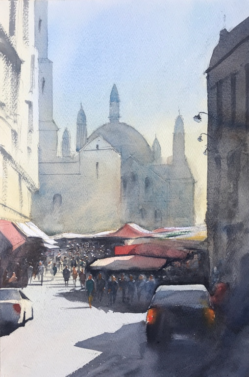 Market Day in the French town of Perigueaux - a watercolour painting by artist John Haywood