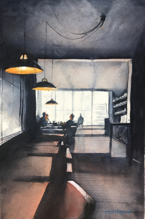 Watercolour painting of The Set restaurant by artist John Haywood