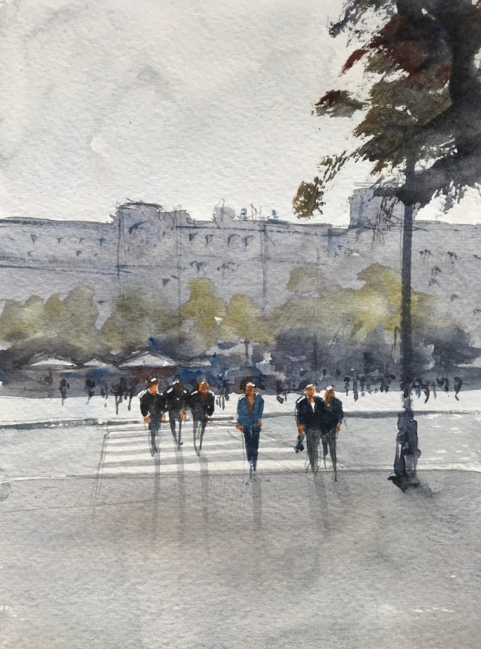 After the rain, Porto - a sketch by watercolour artist John Haywood
