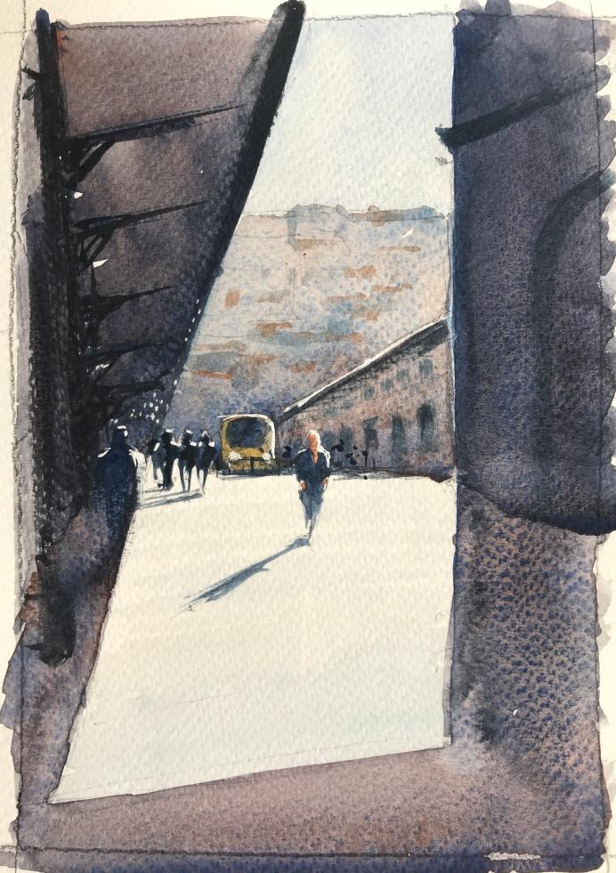 Sao Bento train station, Porto - a sketch by watercolour artist John Haywood