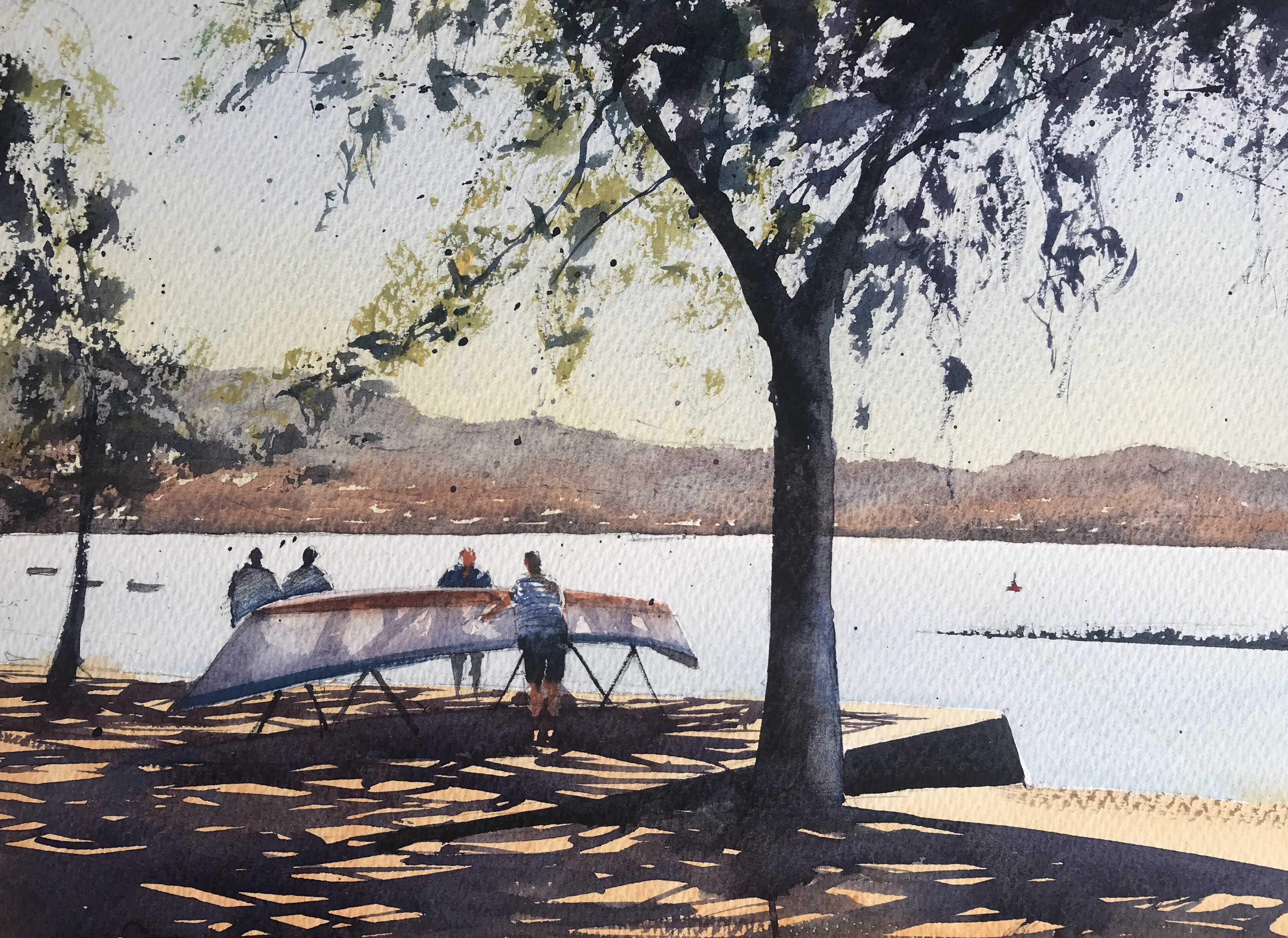 On the bank of the Douro, Porto - a painting by watercolour artist John Haywood.