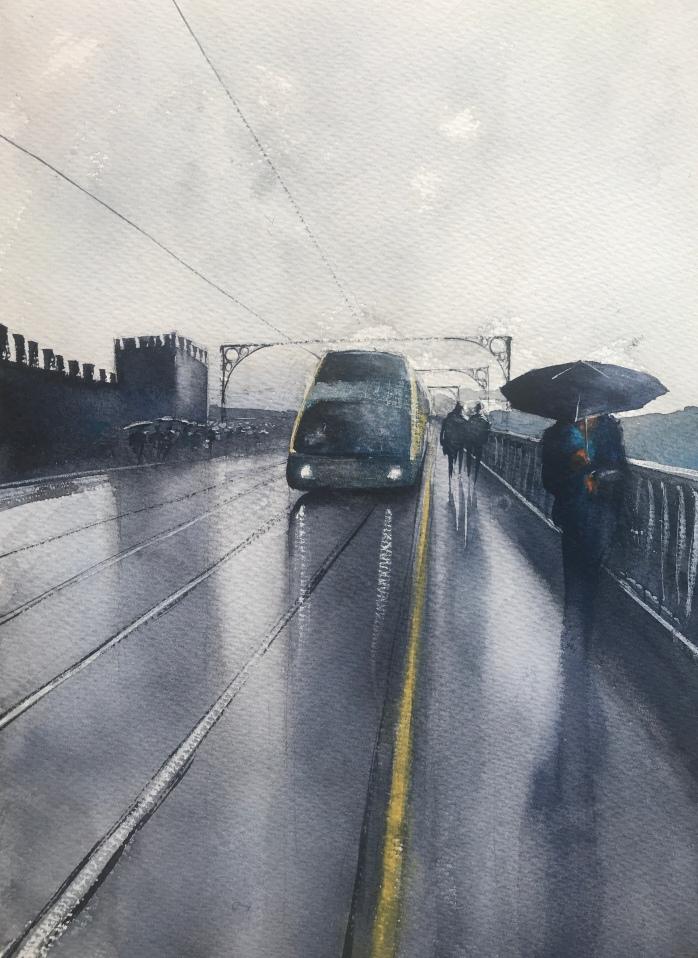 Metro crossing Pont Luis Bridge, Porto - a painting by watercolour artist John Haywood