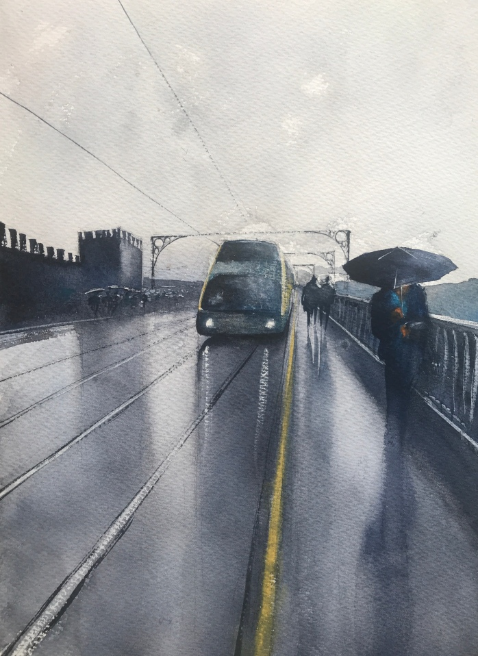 Metro crossing Pont Luis Bridge, Porto - a painting by watercolour artist John Haywood