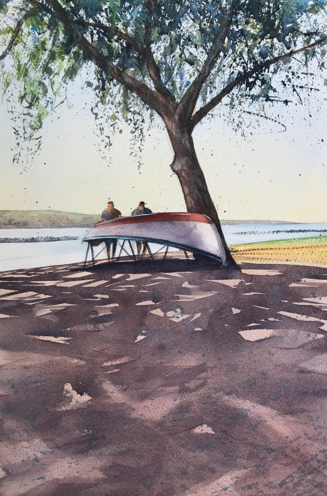 On the bank of the Douro, Porto - a watercolour painting by artist John Haywood