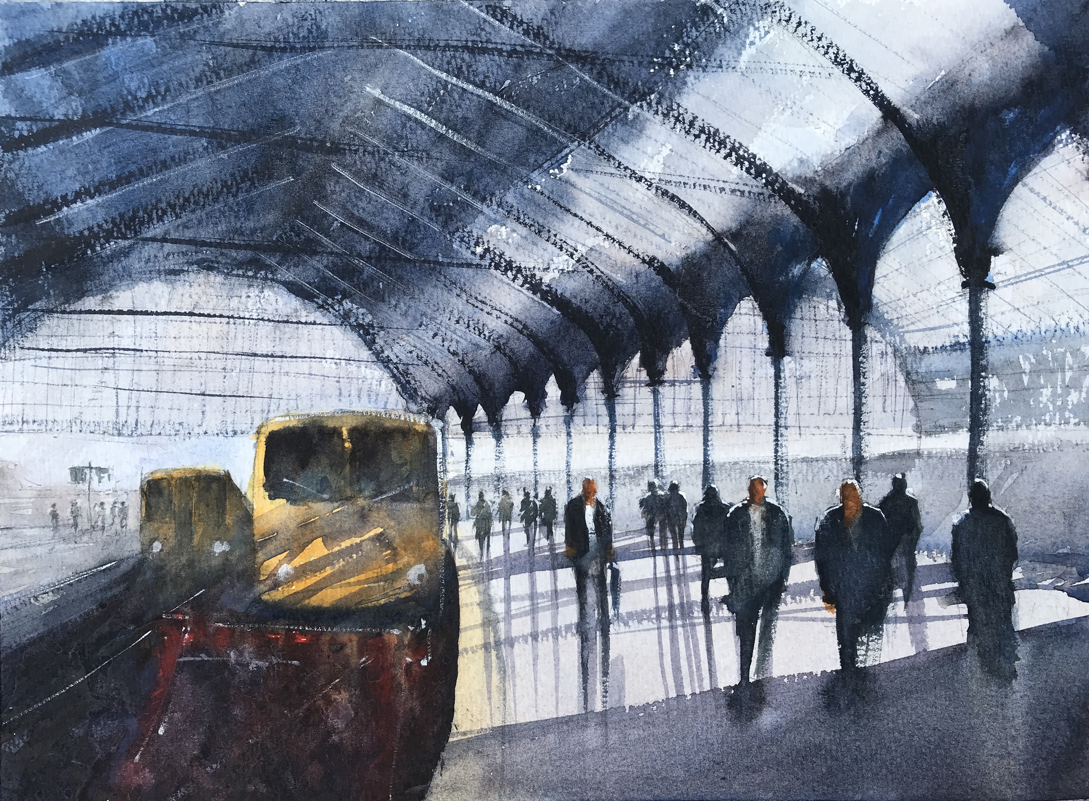 Station shadows, Brighton  - a watercolour painting by artist John Haywood