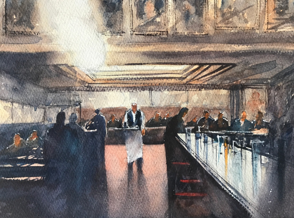 Le saveur, (The waiter) - watercolour painting by artist John Haywood