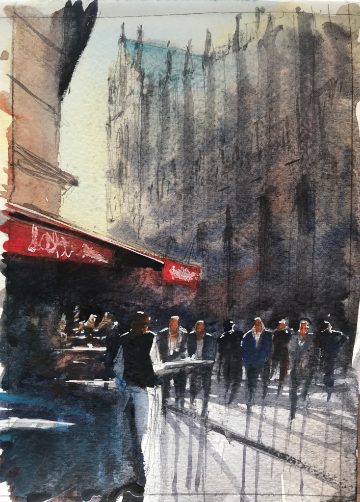 Watercolour sketch 1/3 of cafe aux tours a Notre Dame by John Haywood