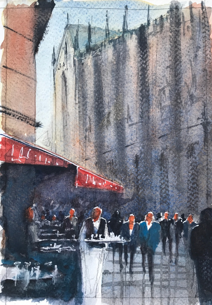 Watercolour sketch 2/3 of cafe aux tours a Notre Dame by John Haywood