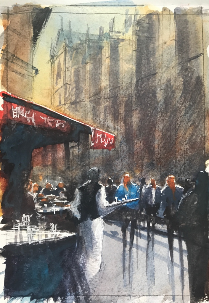 Watercolour sketch 3/3 of cafe aux tours a Notre Dame by John Haywood