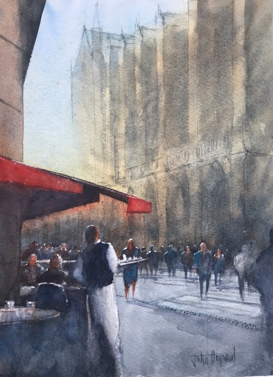 A watercolour painting of the Cafe Aux Tours de Notre Dame, Paris by John Haywood