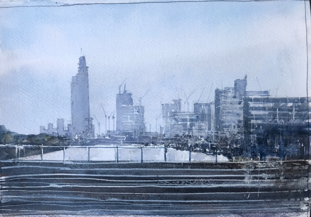 Travelling home, crossing the Thames -  a watercolour sketch by artist John Haywood