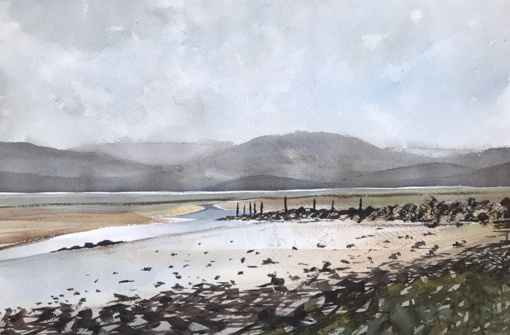Low tide on the Maddach estuary, Snowdonia Wales - a watercolour painiting by John Haywood