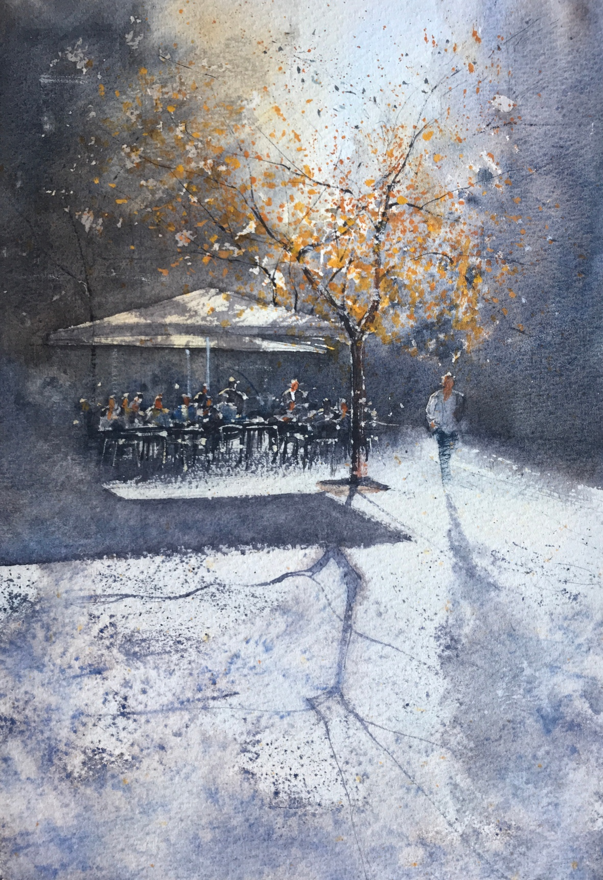 Watercolour painting of a cafe in Barcelona by artist John Haywood