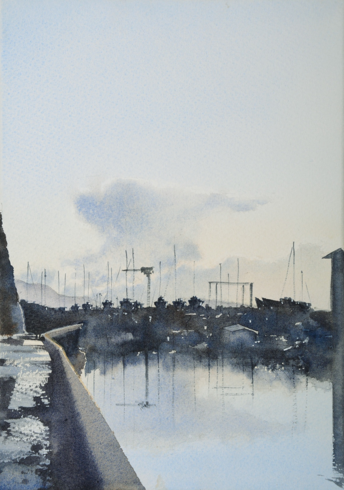 Watercolour painting of an anvil cloud over Brighton marina and it's reflection in the water.