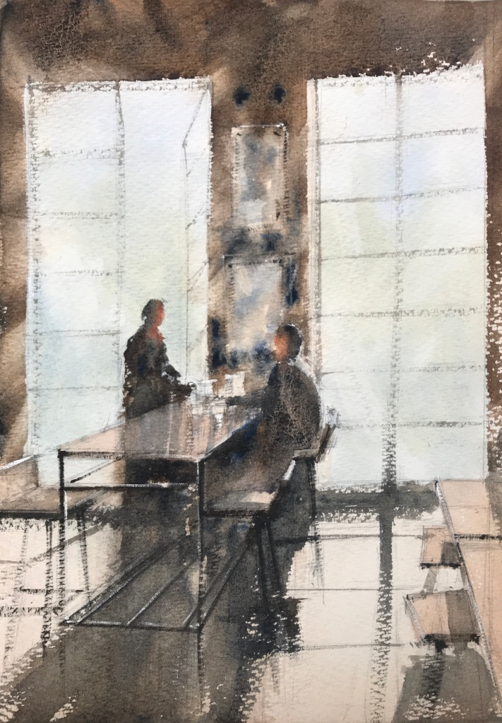 Two people chatting over coffee, watercolour painting by John Haywood