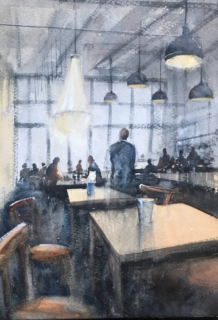 Watercolour painting, an interior view of Bills restaurant in Brighton by John John Haywood.