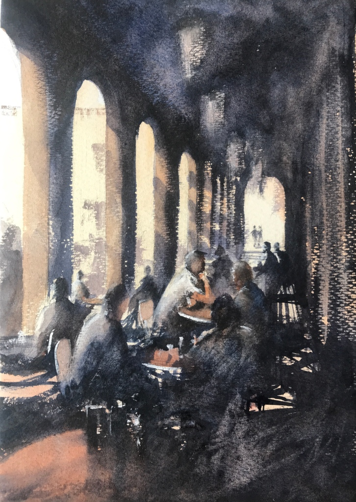 Watercolour painting of a cafe under a colonnade in Barcelona by artist John Haywood