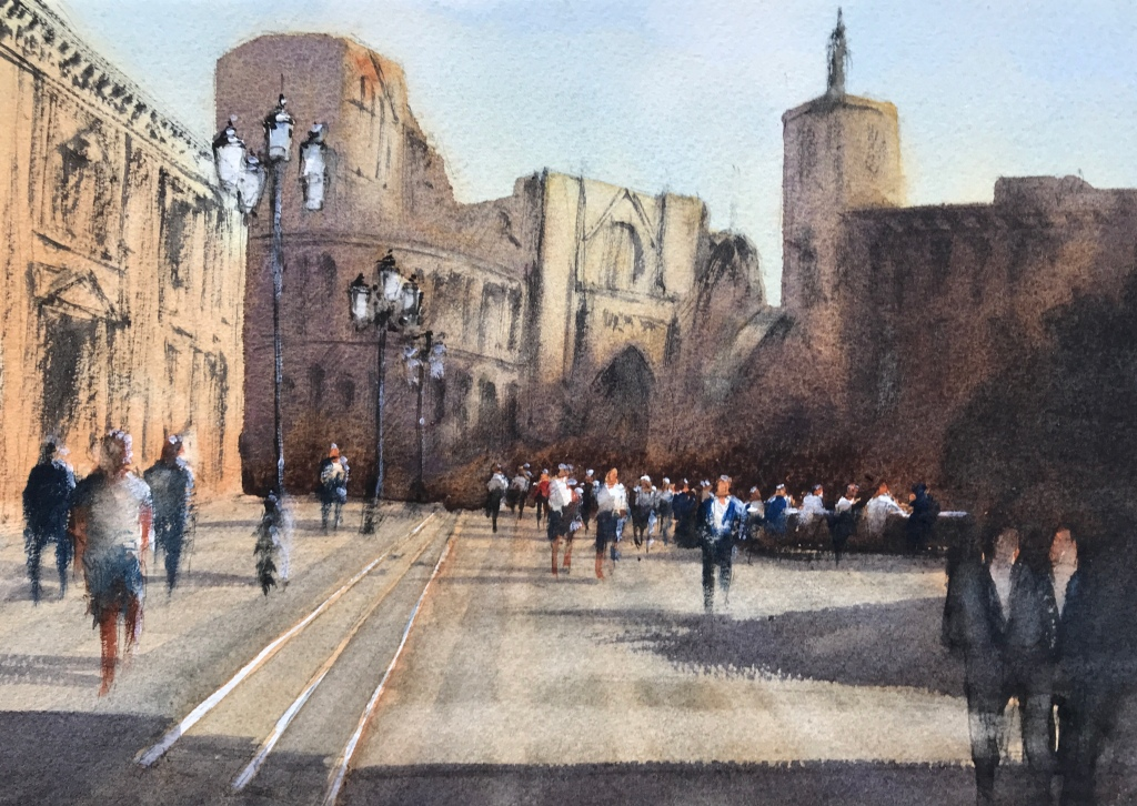 Watercolour painting of the Plaza de la Virgin, Valencia, by artist John Haywood