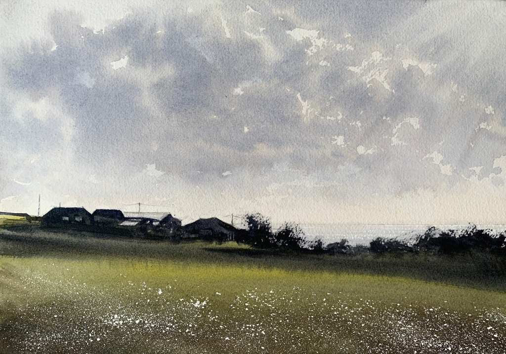 Watercolour painting 'Distant horizon, from Devil's Dyke Road, Brighton' by artist John Haywood