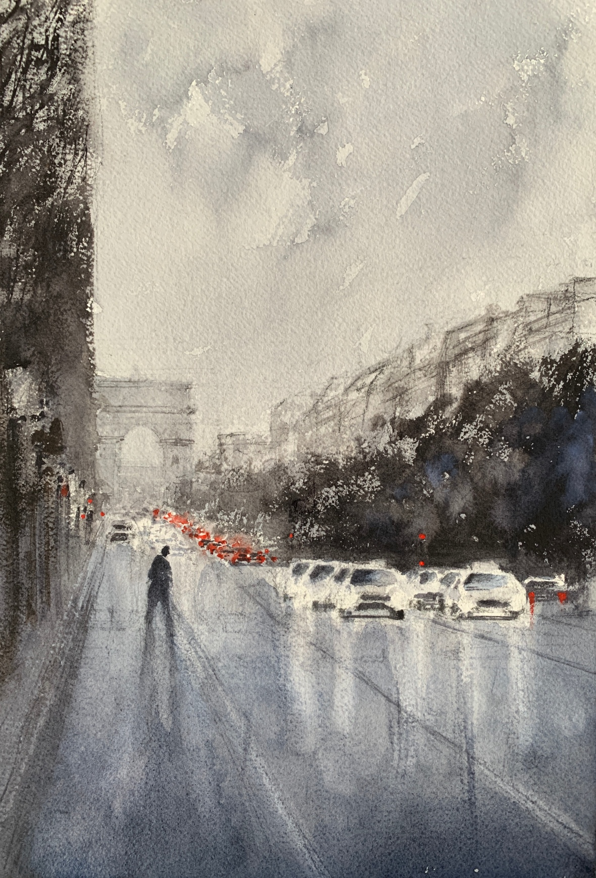 Watercolour painting of a rainy day in Paris by artist John Haywood