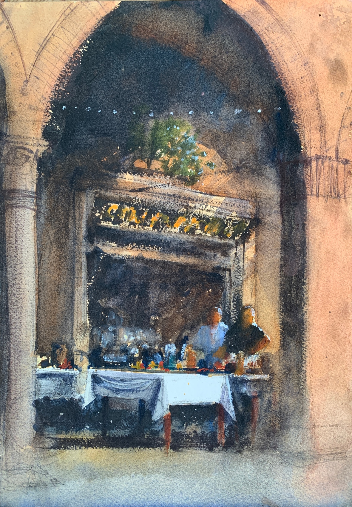 Watercolour painting of a cafe in Bologna, Italy by John Haywood