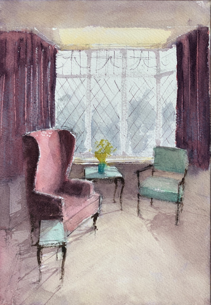 Watercolour painting of the interior of a room by artist John Haywood