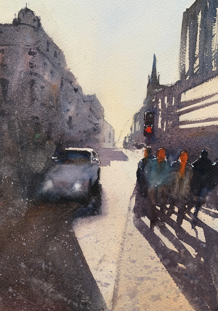 Looking down Watercolour painting of the view looking down West Street from the Clocktower, Brighton, by artist John Haywood