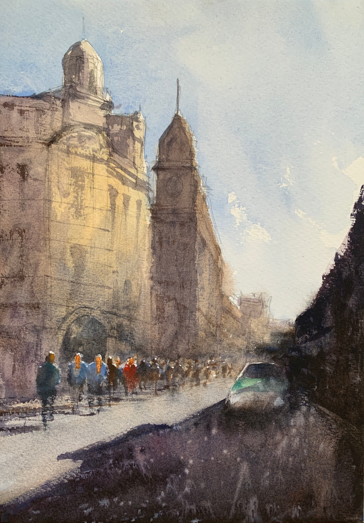 Watercolour painting of a Streamline taxi on North Road, Brighton, by watercolour artist John Haywood