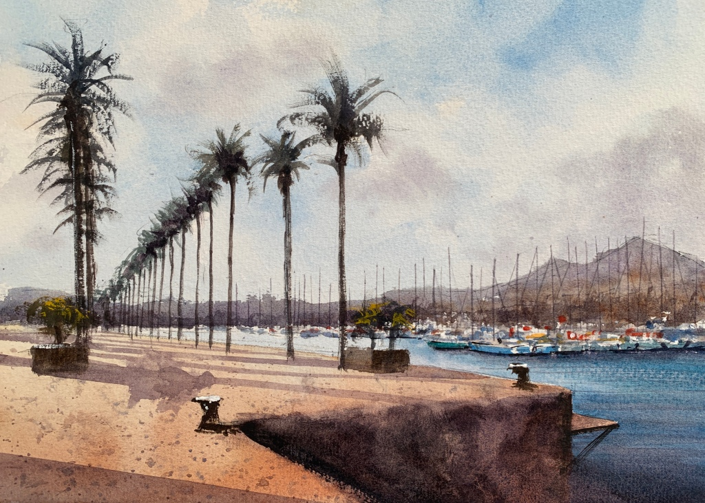Palm trees, Cartagena, Murcia, Spain - watercolour painting by John Haywood