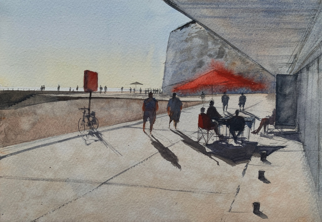 Watercolour painting of Rottingdean beach by artist John Haywood