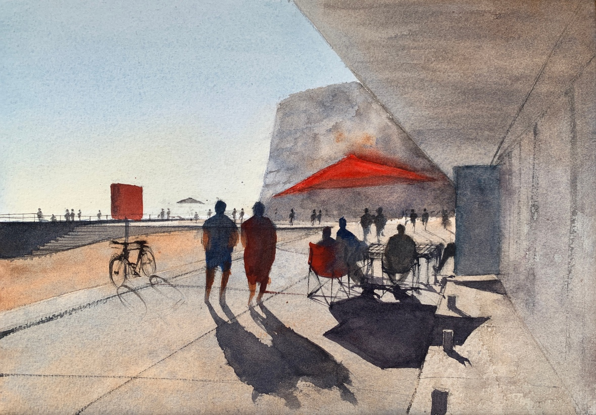 Watercolour painting of the Beach Huts at Rottingdean by artist John Haywood