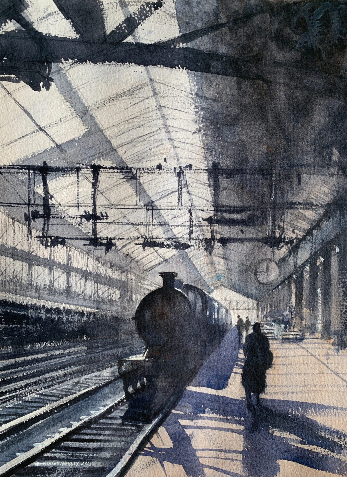 Watercolour painting of a train station from a bygone era by artist John Haywood