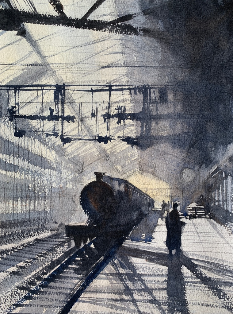 Watercolour painting of a train station from bygone times by artist John Haywood