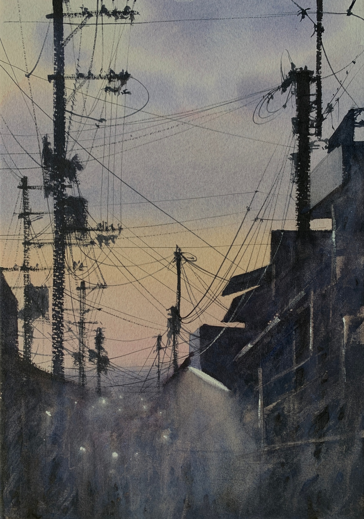 Watercolour painting of telegraph poles and wires silhouetted against a twilight sky