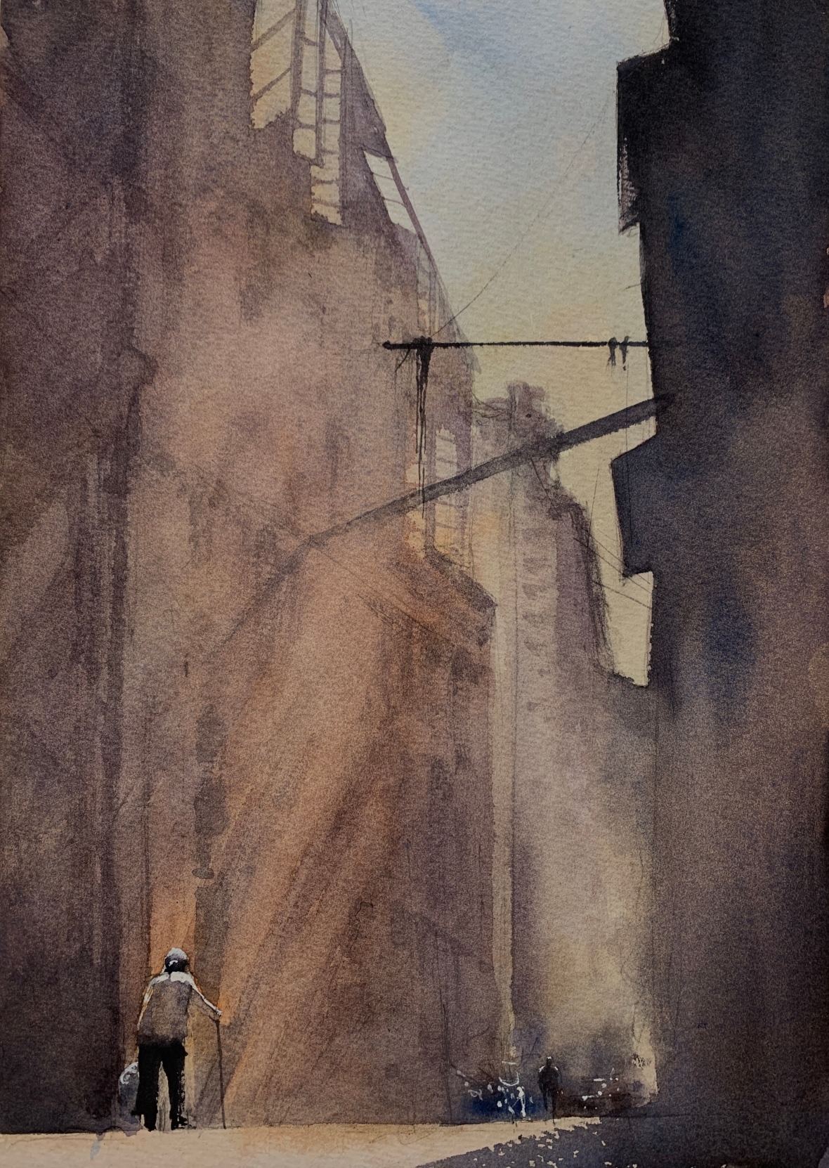 Watercolour painting based on a black and white photograph by Fan Ho titled 'Mystic Alley' by artist John Haywood