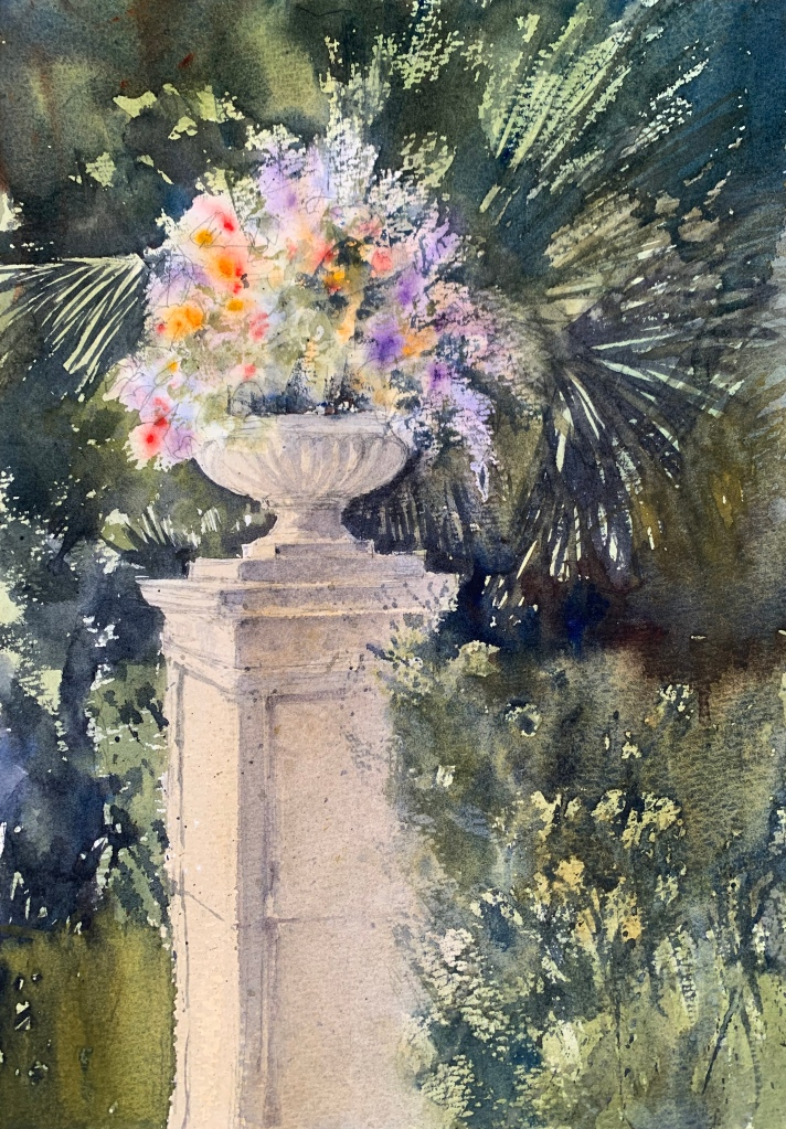 Watercolour painting of some flowers in a garden surrounded by foliage by artist John Haywood