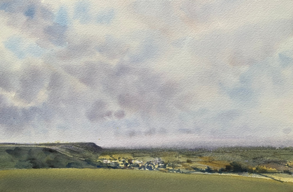 Watercolour painting of the view from Devil's Dyke over Poyniings.