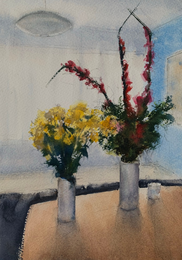 Painting of flowers in vases by John Haywood, watercolour artist.