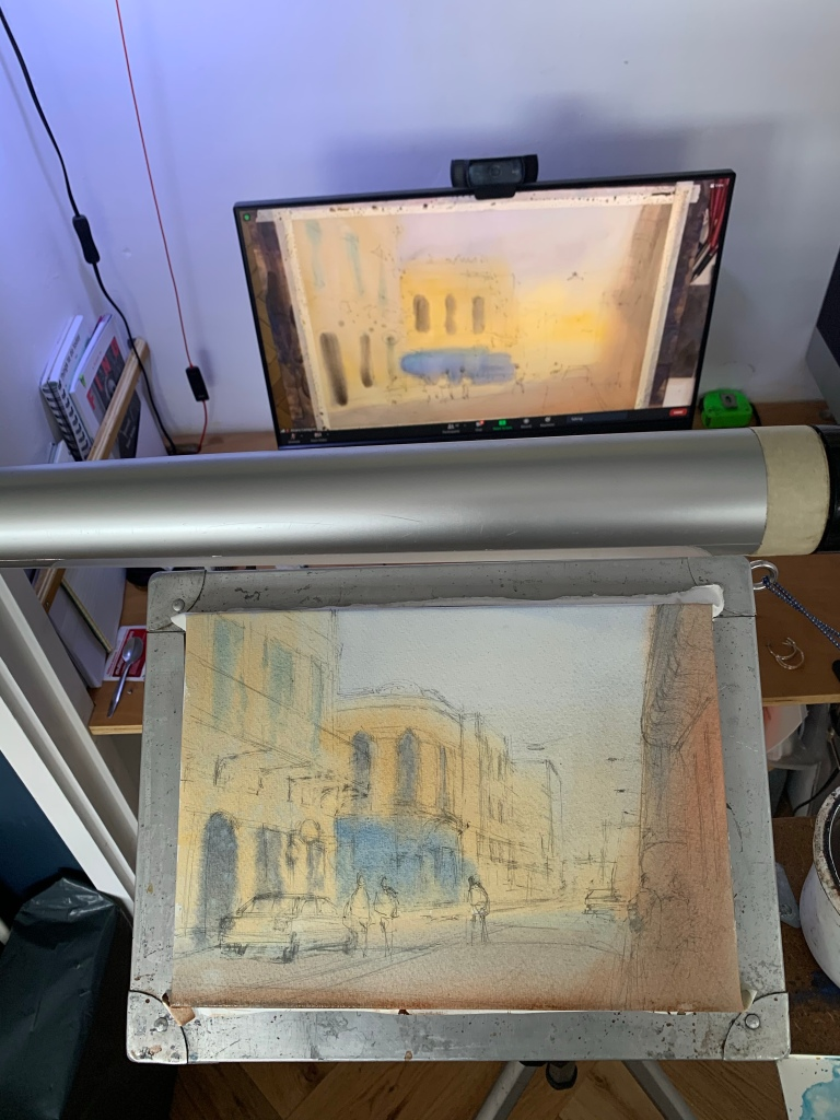 Alvaro Castagnet watercolour workshop demonstration work in progress photo after stage one