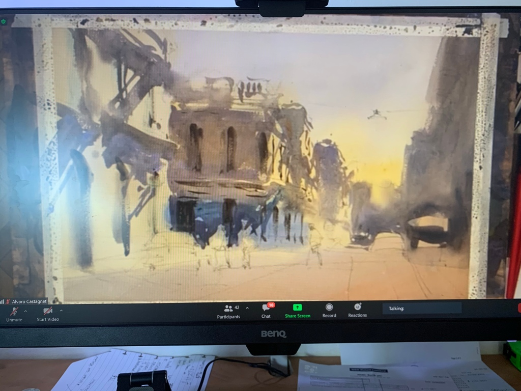 Alvaro Castagnet watercolour workshop demonstration work in progress photo after stage two