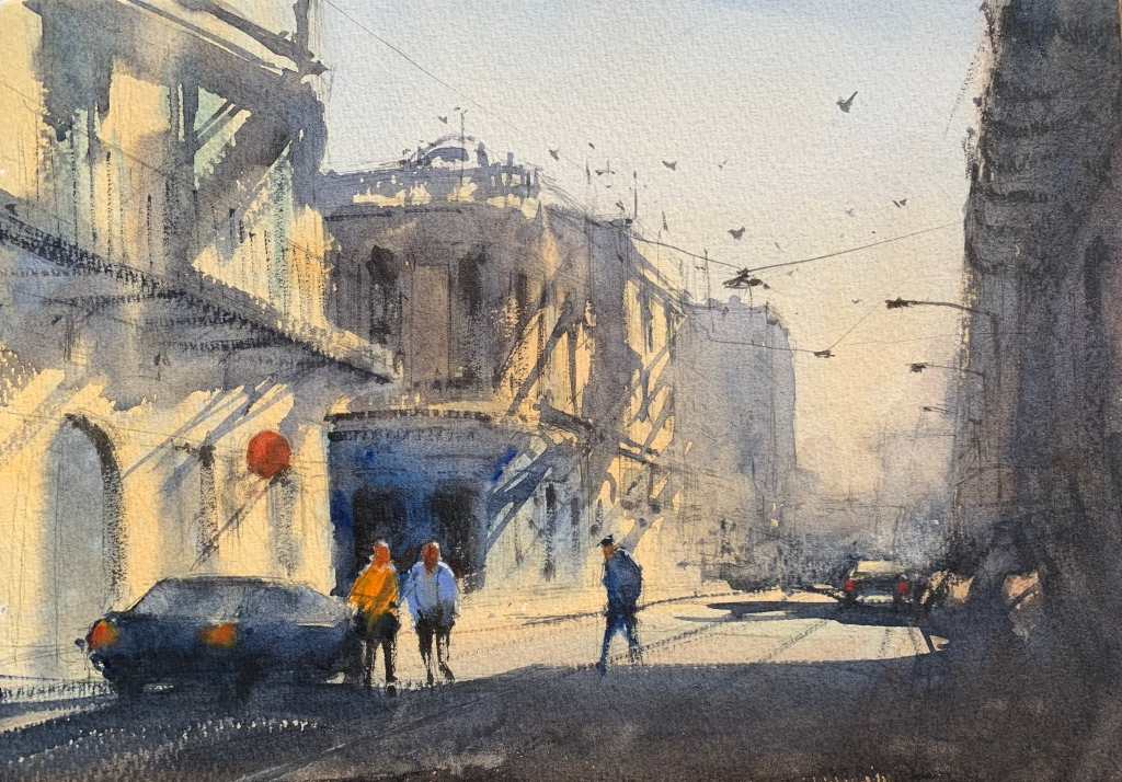 Alvaro Castagnet watercolour workshop painting completed by John Haywood